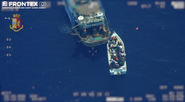 frontex reveals human smuggling with mothership and dinghy at EU border